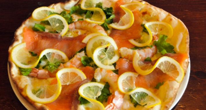pizza con gamberetti