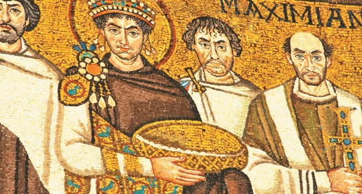 Mosaico presente nella Basilica di San Vitale che raffigura l'Imperatore Bizantino Giustiniano
